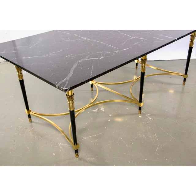 Brass Italian Directoire Style Table With Black Marble Top and Brass Base For Sale - Image 7 of 13
