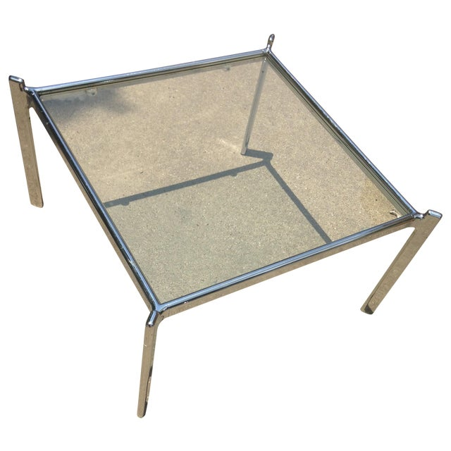 Mid Century Modern Heavy Chrome & Glass Table - Image 1 of 4