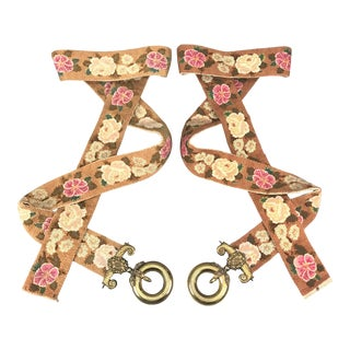 19th C. English Wool Needle Point & Gilt Brass Bell Pulls - a Pair For Sale