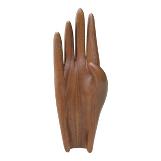 1960s Vintage Mid-Century Modern Carved Teak Wood Human Hand Sculpture For Sale