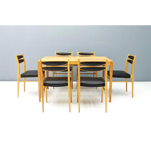 Dining Room Set With Six Chairs in Cherry Wood and Black Leather 1957 For Sale - Image 4 of 10