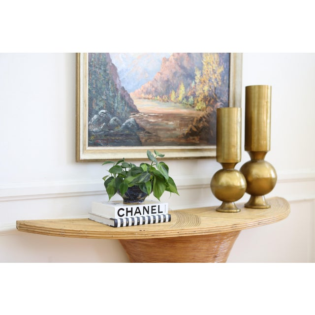 Boho Chic Vintage Pencil Reed Rattan Demilune Console Table For Sale - Image 3 of 9