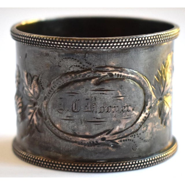 Gold 19th Century Antique Victorian Repoussé Napkin Ring Holder For Sale - Image 8 of 8