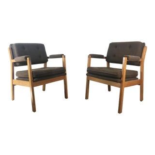 Vintage Mid Century Eck Adams Upholstered Oak Armchairs- a Pair For Sale