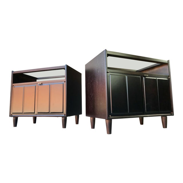 Restored Mid Century Modern Dark Walnut & Glass Top End Tables For Sale