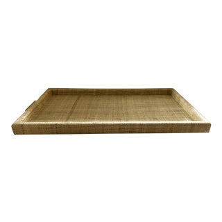 Natural Raffia & Brass Tray