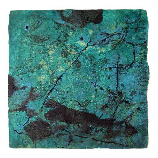 "Niederhausen Monoprint on Paper ""Aqueous"", Teal and Black Abstract For Sale"