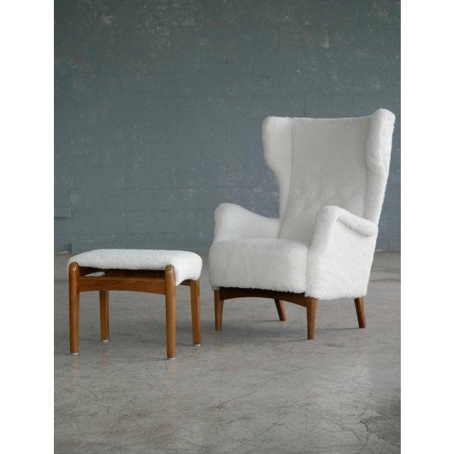 Fritz Hansen 1950s Wingback Chair Model 8023 in Teak Danish Mid-Century For Sale - Image 12 of 12