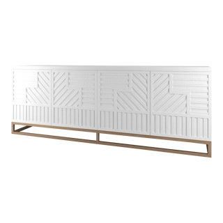 Stria Credenza - Brushed Brass Base, White Open Pore For Sale