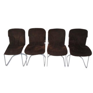 Cidue Chrome and Chocolate Suede Italian Dining Chairs - Set of 4