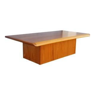 1970s Danish Modern Teak Pedestal Base Coffee Table For Sale