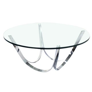 1970s Mid Century Modern Roger Sprunger Chrome & Glass Coffee Table For Sale