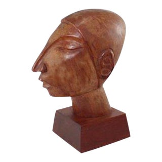 Vintage Mexican Modernist Wood Sculpture by Jose Pinal