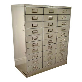 1970s Metal Industrial Cabinet With 30 Drawers by Steelmaster For Sale