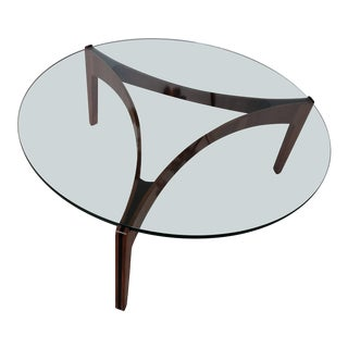 Mid-Century Modern Danish Sven Ellekaer Selig Glass and Teak Wood Table