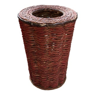 Late 20th Century Red Woven Basket For Sale