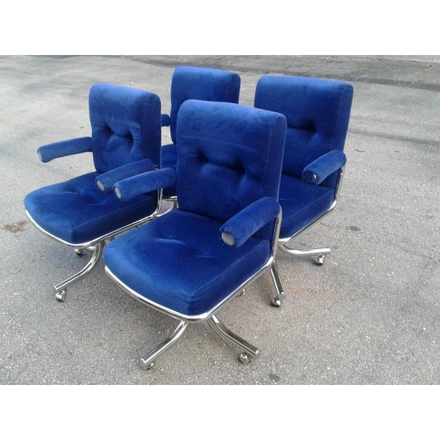 Vintage Hollywood Regency Chrome Swivel Arm Chairs - Set of 4 - Image 4 of 12