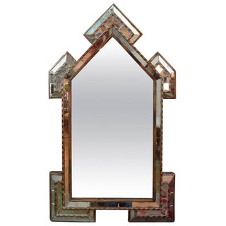Antique Italian Gilt Wood With Inset Mirrored Pieces Mirror For Sale