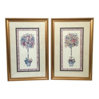 Late 20th Century Framed Botanical Topiary Prints - A Pair For Sale