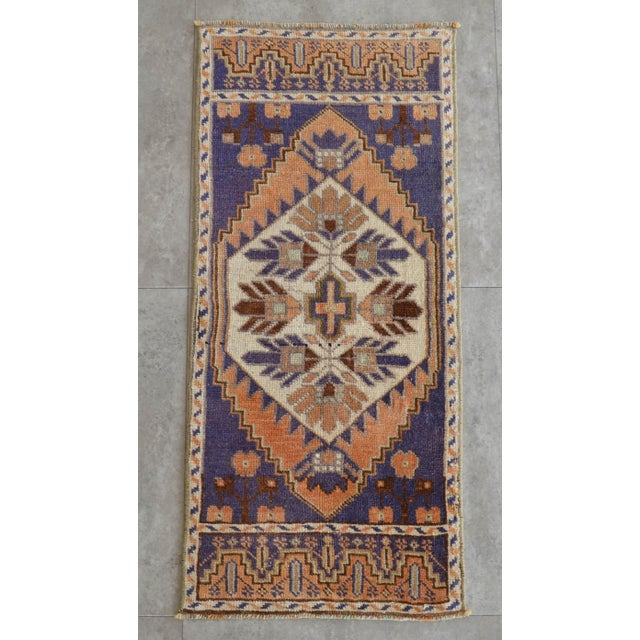 Hollywood Regency Hand Knotted Door Mat, Entryway Rug, Bath Mat, Kitchen Decor, Small Rug, Oushak Rug For Sale - Image 3 of 5