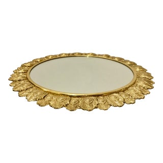 Modern Round Peacock Feathre Brass and Mirror Tray For Sale