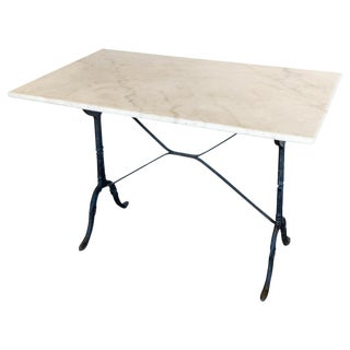 Antique French Marble and Iron Rectangular Bistro Table For Sale