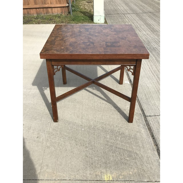 Ethan Allen 1960s Chippendale Patchwork Burl Wood Flip Top Game/Dining Table For Sale - Image 4 of 12