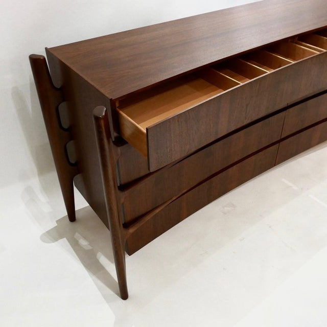 William Hinn Scandinavian Mid-Century Modern Stilted Curved Chest or Dresser For Sale - Image 9 of 13