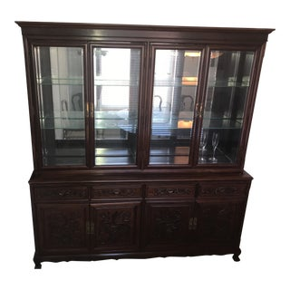 Rosewood Imperial Dragon Design Dish Cabinet For Sale