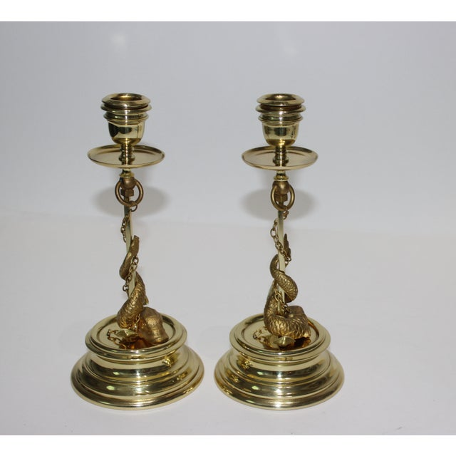 Late 19th Century Gilt Bronze Candlesticks Sea Serpent Anchor Motif Italy Circa 1900 - a Pair For Sale - Image 5 of 13