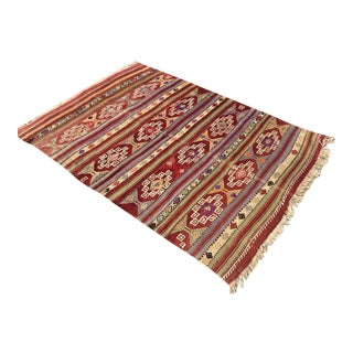 Vintage Rustic Turkish Kilim Rug For Sale