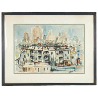 Vintage Mid-Century Sol Baskin Dilapidated Chicago Cityscape Painting For Sale