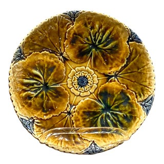19th Century English Majolica Lily Pad Plate For Sale