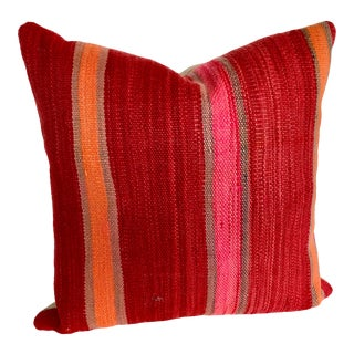 Custom Moroccan Pillow Cut From a Hand Loomed Wool Berber Rug, Atlas Mountains For Sale