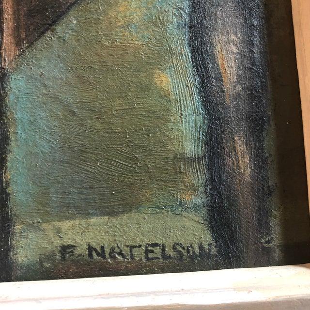 Mid-Century Modern Vintage Modernist Original Tabletop Still Life Painting Carved Wood Frame For Sale - Image 3 of 5