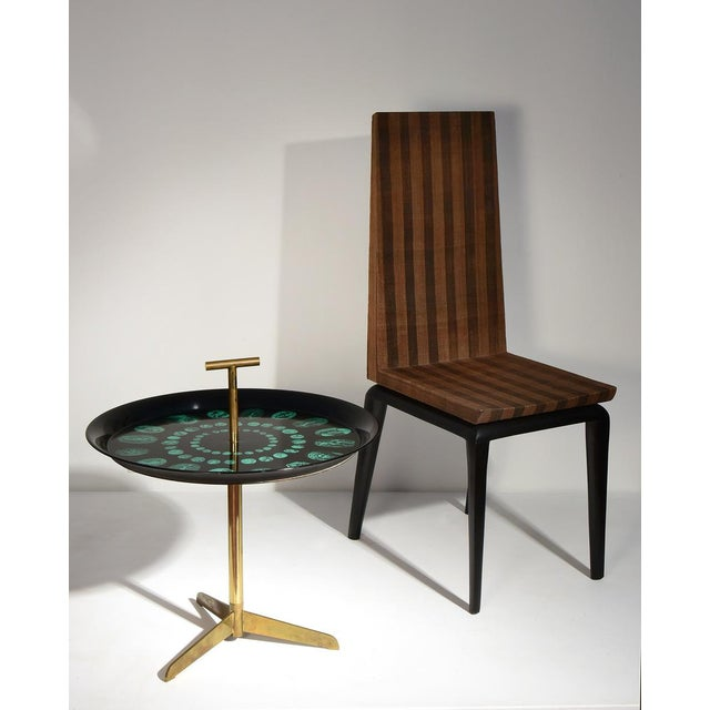 Black Piero Fornasetti Rare Tripod and Brass Serving Table, 1950s For Sale - Image 8 of 10