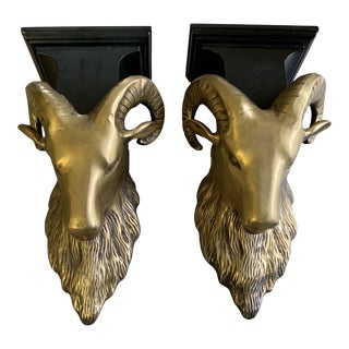 Vintage Brass Rams Head Wall Brackets Shelves - a Pair For Sale