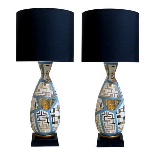 A Striking and Tall Pair of Italian Mid-Century Bottle-Form Lamps With Gilt Geometric Decoration For Sale