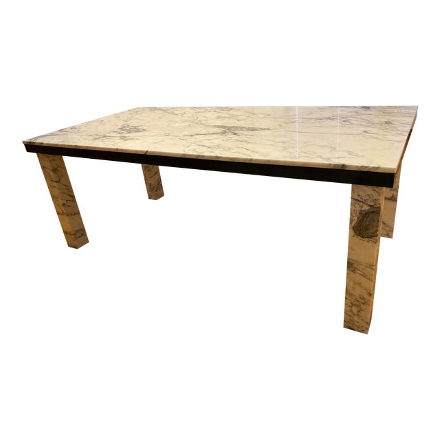 1970s Vintage Calacatta Marble Dining Table For Sale