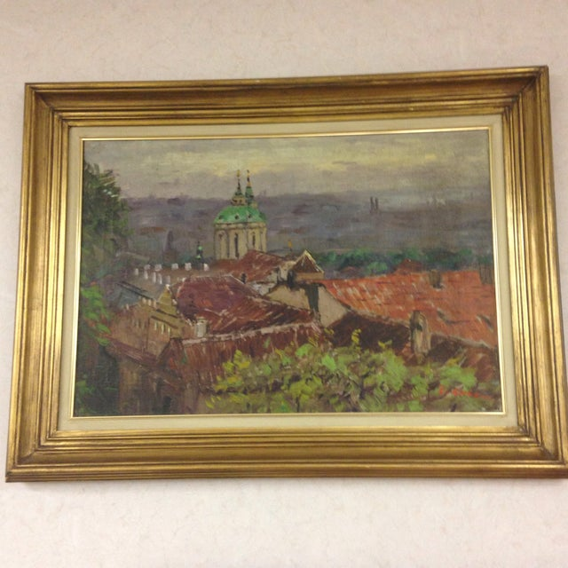 An original oil painting signed by a hard to read signature. Italian landscape. The medium is oil on canvas.