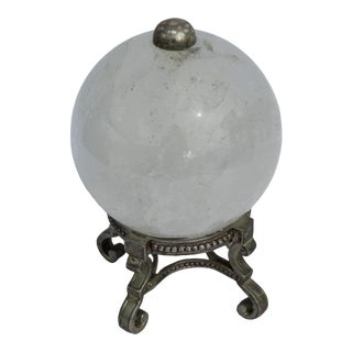 Rock Crystal Table Top Ornament Pierpoint Base Silver Finish - 3 1/2 ' Dia Sphere For Sale