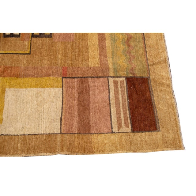 Vintage Art Deco Style Square Wool Rug For Sale - Image 4 of 13