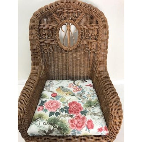 Elegant, Rustic, Country, Charming Wicker Rocking Chair from Henry Link. The Chairs is in excellent condition and boasts a...