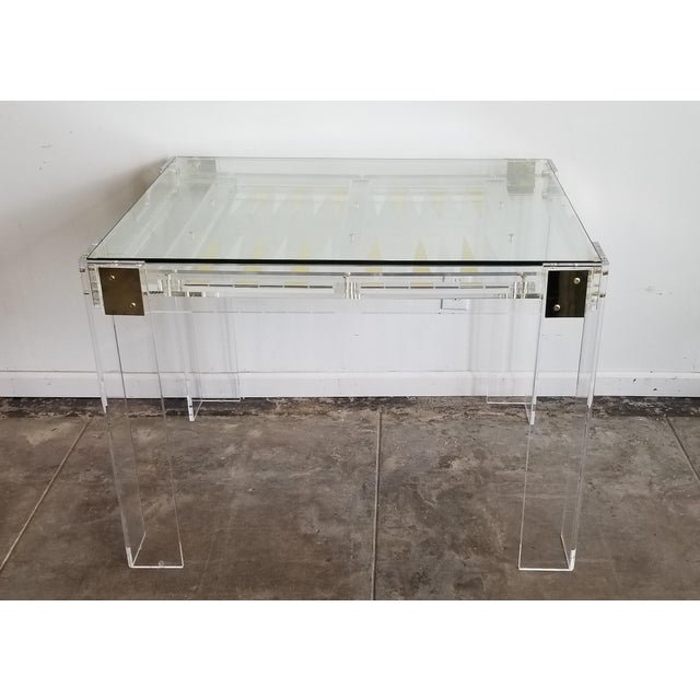 2010s Interlude Home Acrylic Backgammon Table With Brass and Silver For Sale - Image 5 of 5