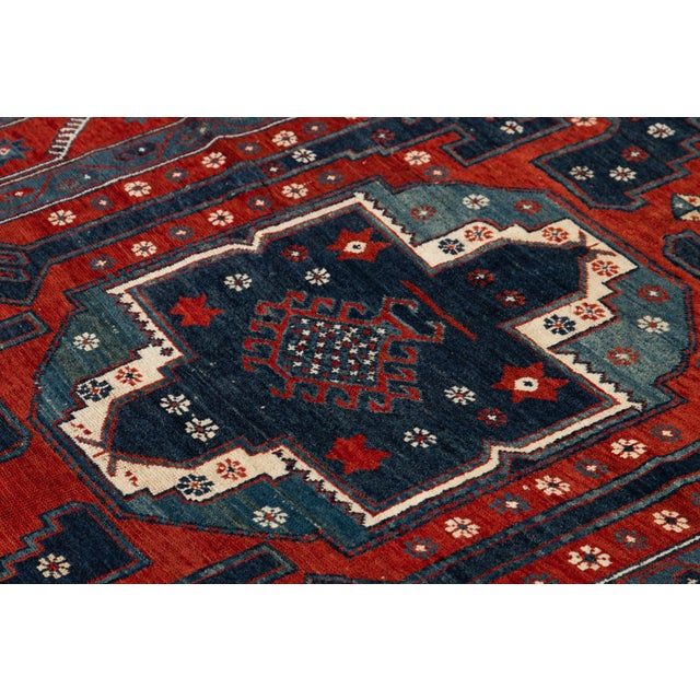 Blue Mid 20th Century Vintage Rug For Sale - Image 8 of 9