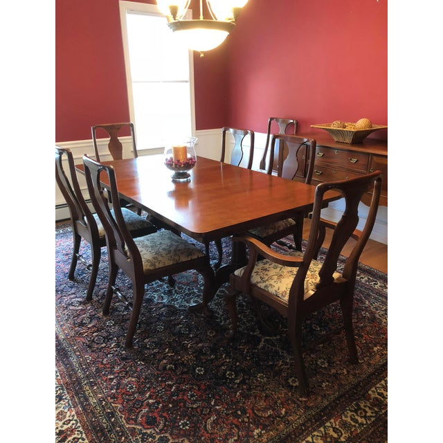 Queen Anne Craftique Solid Mahogany Dining Set For Sale - Image 3 of 10