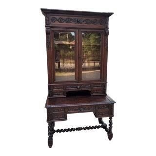 Antique French Desk with Upper Bookcase Cabinet For Sale