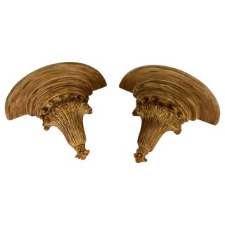 A Pair of Wooden Shell & Ball Form Demi Lune Wall Shelves or Wall Brackets For Sale