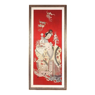 Framed Chinese Embroidery Panel of Longevity Deities For Sale