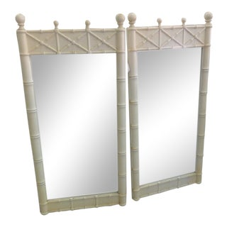 1970s Palm Beach Faux Bamboo Mirrors - a Pair For Sale